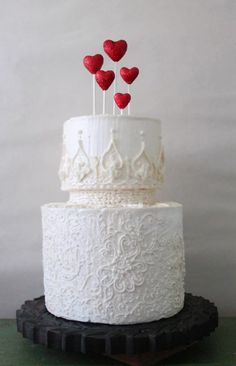 Red Glitter Heart Wedding Cake Toppers Set of от CherryRedToppers