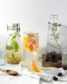 Three Flavored Waters: Blackberry Sage, Mixed Citrus + Ginger Mint.