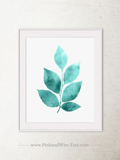 Teal leaves printable art Download this great artwork instantly and decorate your home    ◇ Also available in:  - Blue and Green: