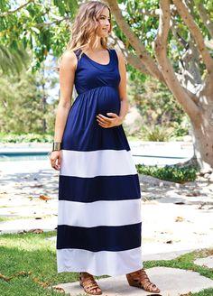 Maternal America - Nursing Maxi Dress in Blue/White