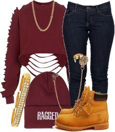 "Burgundy Shredded Sweatshirt, Denim Jeans, ""Ragged"" Beanie, Gold Knuckle Ring/Ear Cuff/Necklace, Timbs"