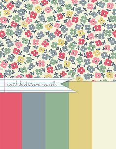 Colour Love - Cath Kidston - excellent CK colourway for kitchen/diner sofa 💕💕 Colour Schemes, Color Trends, Color Palettes, Cath Kidston Crochet, Cath Kidston Wallpaper, Larder Unit, Rock Flowers, Rustic Flowers, Design Seeds