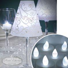12 Wine Glass Shades 12 White LED Tea Lights Candle Table Decor Wedding Party | eBay