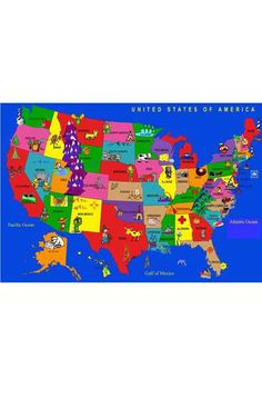 Children's Educational and Play USA Cartoon Map Rug