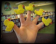 Felt duck finger puppets.