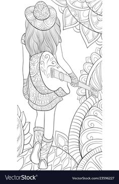 Adult coloring bookpage a girl with a guitar vector image on VectorStock Girl Drawing Sketches, Art Drawings Sketches Simple, Doodle Art Drawing, Girly Drawings, Zentangle Drawings, Mandala Drawing, Pencil Art Drawings, Cool Drawings, Mandala Coloring