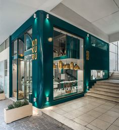 bold green with a touch of gold: urban soul project's jewelry store in athens - Cafe Design - Jewelry Store Design, Jewelry Shop, Jewelry Stores, Luxury Jewelry, Café Design, Design Blog, Interior Design, Best Engagement Rings, Antique Engagement Rings