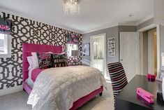 Fascinating Teenage Bedroom Ideas Applying Full Color Concept: Lovely Pink Bed And White Quilt In The Luxurious Teenage Bedroom Ideas With T...