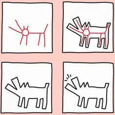 Keith Haring PDF - Learn to draw a dog after Keith Haring - Keith Haring Kids, Keith Haring Heart, Keith Haring Prints, Keith Haring Poster, Famous Artists For Kids, Famous Artists Paintings, Pop Art Artists, Art Videos For Kids, Art For Kids