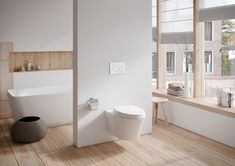 Save space in your #bathroom without sacrificing looks. Discover the new modern wall-hung #toilet from TOTO.