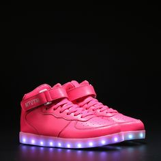 Men's Casual Shoes Men's Shoes Remote Control Led Shoes Womens Pink Color High Top Shoes With Usb Charging Lace Up Luminous Casual Neon Dancing Party Sneakers
