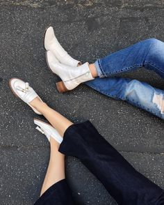 white shoes and denim with @thriftsandthreads by lisadengler