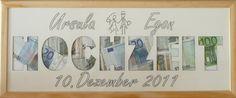 Mill Design. Zur Hochzeit neuen gemeinsamen Nachnamen ausschneiden, mit Geld statt Fotos füllen, nach der Hochzeit können Fotos reingetan werden
