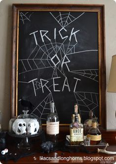 Make your own chalkboard AND draw your own spooky Halloween chalk art