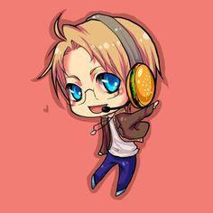 America chibi! I love his headphones!!
