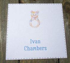Baby Rattle Personalized Enclosure Cards - Gift Cards - Calling Cards - Set of 24 - Unisex - Trending - Flat - One sided - Embossed - Kids