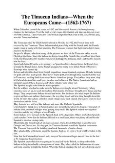 Timucua Indians Food | The Timucua Indians