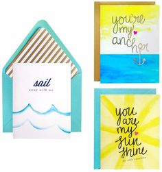 meant to be sent Summer Love Notecards 3 ct, Multi-Colored Crepe Streamers, Gold Balloons, Sail Away, Backdrops For Parties, Coordinating Colors, Folded Cards, Summer Of Love, My Sunshine, Note Cards