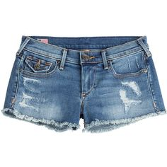 True Religion Joey Cut-Off Denim Shorts ($115) ❤ liked on Polyvore featuring shorts, bottoms, pants, short, blue, denim shorts, blue shorts, short jean shorts, true religion shorts and slim shorts