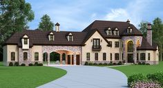 European Estate Home with Porte Cochere - 12307JL | European, French Country, Luxury, 1st Floor Master Suite, Butler Walk-in Pantry, CAD Available, Den-Office-Library-Study, PDF | Architectural Designs