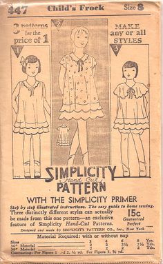 Love the double scalloped hem on this vintage girl's dress Girl Dress Patterns, Doll Clothes Patterns, Clothing Patterns, Skirt Patterns, Coat Patterns, Blouse Patterns, Vintage Girls Dresses, Vintage Outfits, Vintage Clothing