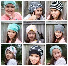 This week I decided to try Heidi & Finn's Free Slouchy Beanie hat  pattern... and I really got carried away! Or maybe Cadie got carried away  with her silly hat faces, lol.