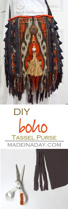 Update a simple purse into a fabulous fringe and tassel Boho satchel! Adding jersey knit fringe and upholstery tassels for a trendy upgrade. Bohemian Mode, Bohemian Style, Bohemian Gypsy, Diy Bags Purses, Purses Boho, Gypsy Bag, Fringe Purse, Moda Boho, Tassel Jewelry