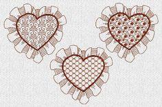 Lacy Valentine Hearts Redwork Machine Embroidery Designs    These are machine embroidery designs. NOT hand embroidery designs. Please read entire