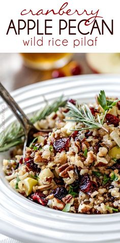 Easy one pot Cranberry Apple Pecan Wild Rice Pilaf simmered in herb seasoned chicken broth and apple juice and riddled with sweet dried cranberries, apples and roasted pecans for an unbelievable savory sweet side dish perfect for the holidays. Everyone always asks for this recipe! #CasseroleCravings @delmontebrand