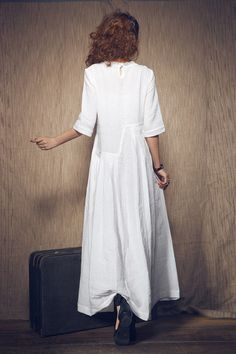 White Dress maxi linen dress Wedding maxi linen от camelliatune