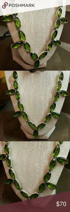 SALE! Peridot necklace Faceted peridot set in handcrafted 925 sterling silver,  adjustable 17-20 inches.  NWOT Robin's Nest Jewels Jewelry Necklaces