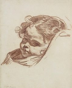 Jean Baptiste Greuze .  Portrait of a Young Girl . Drawing Sanguine on paper