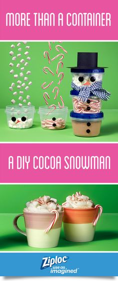 This holiday season, prep ahead to save time with this DIY Cocoa Snowman Gift Kit. Create in just a few simple steps using easy-to-find ingredients and Ziploc® brand Twist 'n Loc® containers. This DIY kit is a deliciously portable and adorable on-the-go gift. Perfect for teachers, dog walkers, hostesses, coworkers, friends, Secret Santas and more.