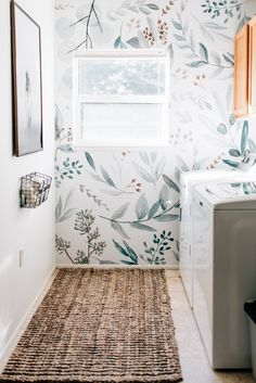 Single back wall with wall paper and the rest of the room the beige, or gray or a rosie pink Laundry Room Wallpaper, Of Wallpaper, Wallpaper For Bathrooms, Kitchen Wallpaper Accent Wall, Farmhouse Wallpaper, Botanical Wallpaper, Accent Walls, Grey Laundry Rooms, Laundry Room Design