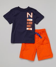 Look at this Nautica Dark Navy Tee & Orange Shorts - Infant & Toddler on #zulily today!