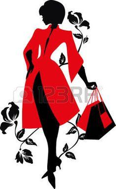 Silhouette �l�gante. Belle femme avec des fleurs et des sacs. Shopping Design. photo