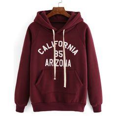Hooded Drawstring Letter Print Maroon Sweatshirt (51 BRL) ❤ liked on Polyvore featuring tops, hoodies, sweatshirts, sweaters, shirts, red, long sleeve sweatshirts, red hooded sweatshirt, hooded long sleeve shirt and hooded pullover sweatshirt