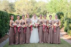 taupe dresses with ruby ribbons | Magnolia Pair #wedding