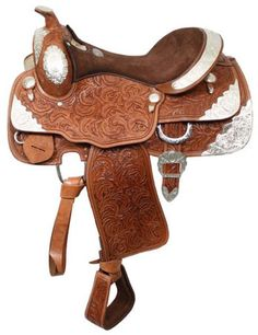 """Double T 16"""" Fully Tooled Show Saddle With Suede Seat   ChickSaddlery.com"""