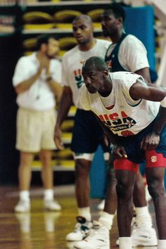 "June Michael Jordan wearing the Air Jordan 7 ""Olympic"" at Team USA training camp Team Usa Basketball, Olympic Basketball, Michael Jordan Basketball, Basketball Skills, Best Basketball Shoes, Basketball Legends, Basketball Uniforms, Love And Basketball, Olympic Team"