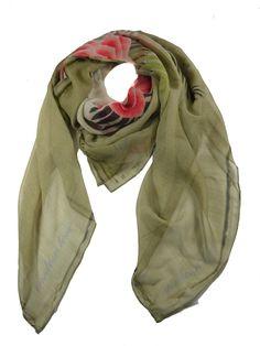 Modern Love Silk Georgette Scarf in Beaded Flower