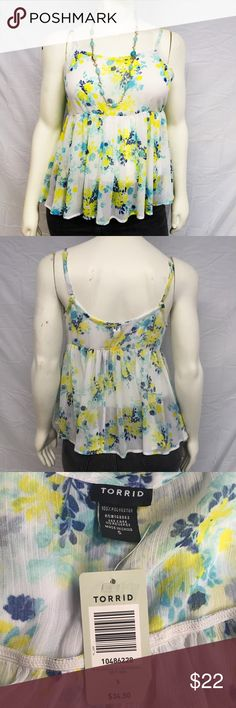 Torrid Spring Floral Top Gorgeous spring floral tank top from torrid! Babydoll empire waist. Adjustable spaghetti straps. Semi sheer chiffon material. New with tags, never worn. Smoke and pet free home. torrid Tops Tank Tops