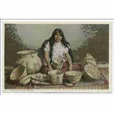 Vintage Indian Market Basket Great Lakes Round Large