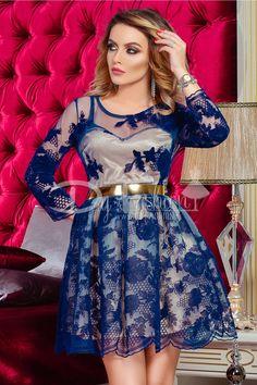 Rochie Blue Velvet Flower