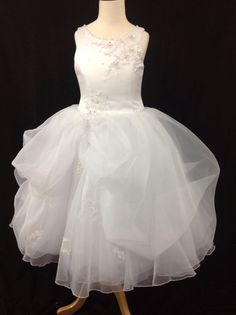 Christie Helene Communion Dress - P1221 - White Satin Lace Voluminous Organza Pick Up Skirt - 2014 Signature Collection