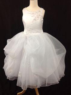 Christie Helene Communion Dress - P1221 - White Satin Lace Voluminous Organza Pick Up Skirt - 2014 Signature Collection