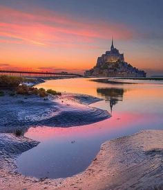 Mont Saint - Michel ✨💜💜💜✨ Picture by ✨✨ . for a feature 💜 Mont Saint Michel France, Le Mont St Michel, Landscape Art, Landscape Photography, Travel Photography, France Photos, Travel Abroad, Wonderful Places, Places To See