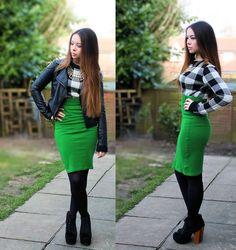 Glamorous Studded Leather Jacket, Gate Necklace, Green Pencil Skirt, Black Litas