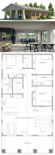 Home Plan House plans Pinterest - plan petite maison 70 m2