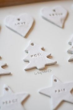 DIY: make your Christmas deco yourself with hardening modeling clay, … - NOEL Clay Christmas Decorations, Easy Christmas Crafts, Noel Christmas, Simple Christmas, Christmas Girls, Theme Noel, Diy Weihnachten, Diy For Kids, Diy Decoration
